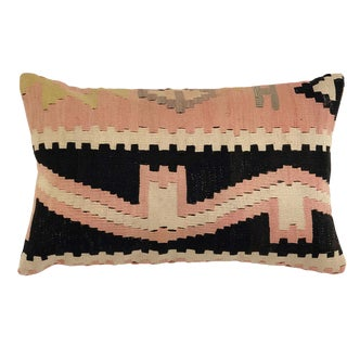 """Re-Claimed Vintage Kilim Lumbar Pillow 12"""" X 20"""" For Sale"""