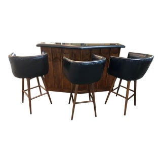 1960s Mid-Century Modern Kent Coffey Perspecta Bar and Stools - 4 Pieces For Sale