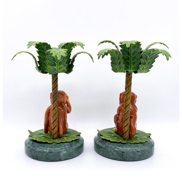 Metal 20th Century Hollywood Regency Monkey Palm Tree Tole, Ceramic and Marble Candlesticks- a Pair For Sale - Image 7 of 10