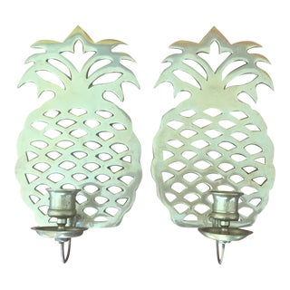 Brass Pineapple Candle Sconces - A Pair For Sale
