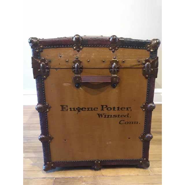 Shabby Chic Early 1900s Canvas Travel Trunk For Sale - Image 3 of 13