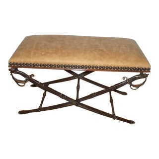 Traditional Leather Upholstered Sword Bench - Theodore Alexander Attributed For Sale