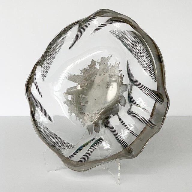 Unique Sculptural Art Glass Low Bowl With Silver Details For Sale In Chicago - Image 6 of 12