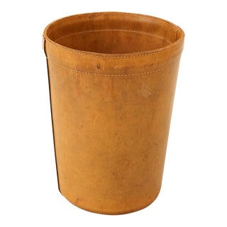 Leather Danish Wastebasket, 1960s