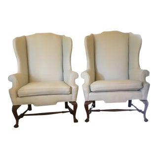 Antique Queen Anne Style Wingback Chairs - A Pair For Sale