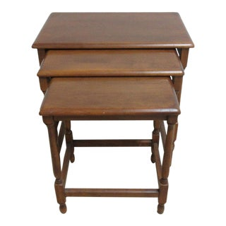 Heywood Wakfield Carved Spindle Nesting Tables - Set of 3 For Sale