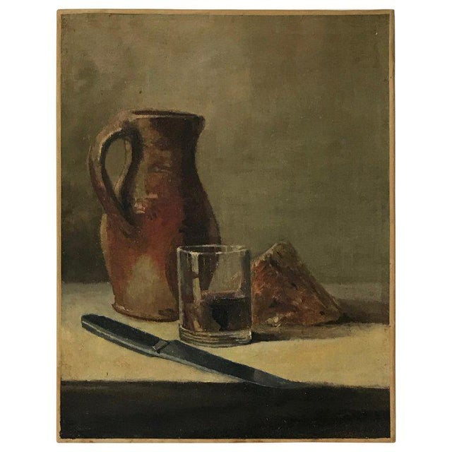 20th C. Wine and Cheese Still Life Painting For Sale - Image 10 of 10