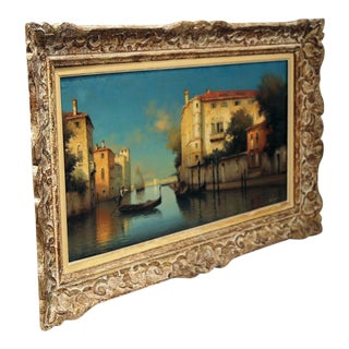 Framed 19th Century Venice Oil Painting For Sale