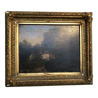 19th Century Charles Hancock Pastoral Painting Oil on Board For Sale