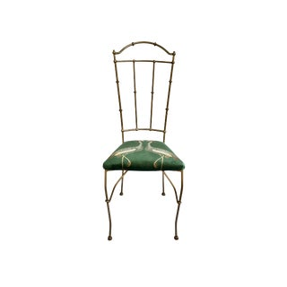 1990s Vintage Iron Bronze Faux Bamboo Chair For Sale