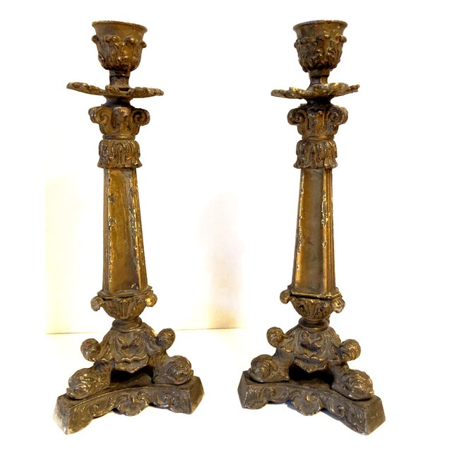 19th Century Antique French Gilt Bronze Acanthus and Dolphin Single Candelabra- a Pair For Sale - Image 13 of 13