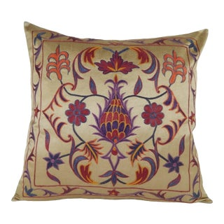 Silk Embroidery Suzani Floral Pattern Pillow For Sale