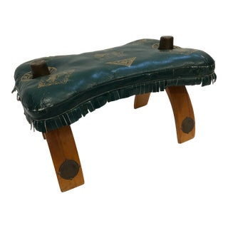 Vintage Mid Century Modern Green Leather Camel Stool For Sale