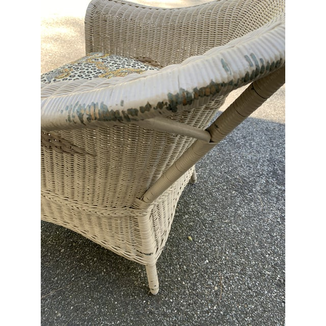Vintage Heywood-Wakefield Wicker Sofa Set With Leopard Pattern Cushions - Set of 3 For Sale - Image 10 of 13