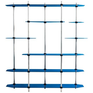 Hex Shelving in Metallic Blue Glaze by Birnam Wood Studio For Sale