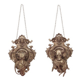19th C. French Shaped Bronze Hunt-Themed Wall Plaques - a Pair For Sale