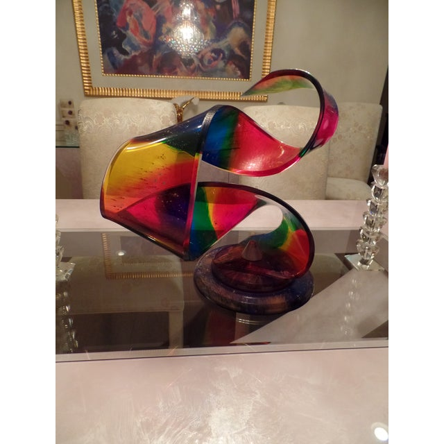 This colorful original Shlomi Haziza acrylic sculpture is signed. Features beautiful bold colors.