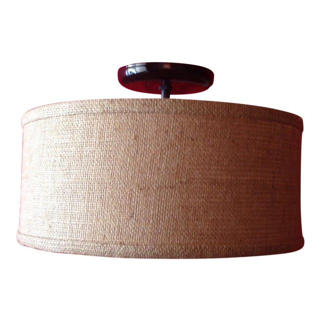 Flush Mount Burlap Shade Ceiling Light - Image 1 of 5