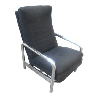 1976 Vintage Milo Baughman for Thayer Coggin Chrome & Black Recliner For Sale