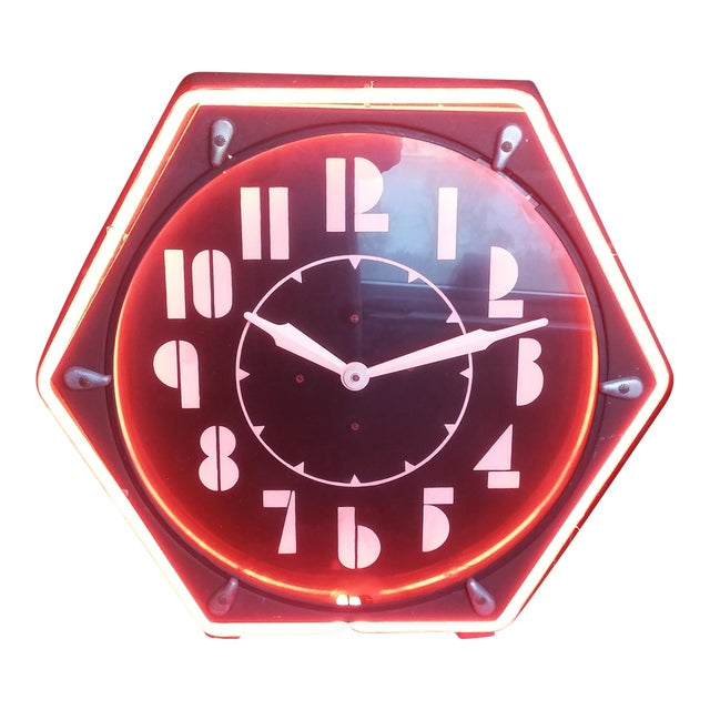 Vintage Electric Neon Deco Face Clock - Image 1 of 4