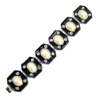 1980s Ysl Yves Saint Laurent Faux Mabe Pearl & Black Enamel Link Bracelet For Sale