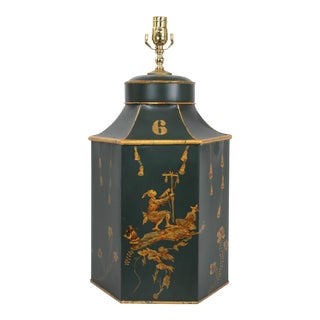 Green & Gold English Export Tea Caddy Tole Lamp For Sale