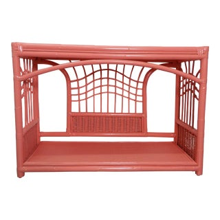 Vintage Boho Chic Woven Rattan & Bent Bamboo Console For Sale