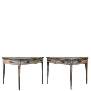 19th Century Gustavian Demilune Consoles - a Pair For Sale