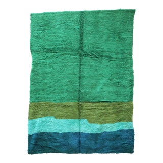 """1990s Contemporary Green Moroccan Rug 6'11"""" X 9'7"""" For Sale"""