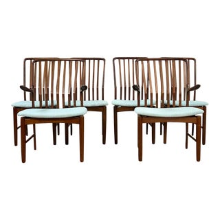 Vintage Mid Century Svend Madsen Danish Modern Rosewood Dining Chairs- Set of 6 For Sale
