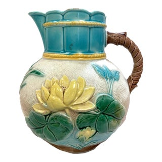 Antique Majolica Water Lily Pitcher For Sale