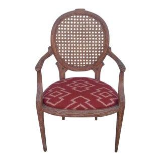Caned-Back Louis XVI Faux Bois Armchair For Sale