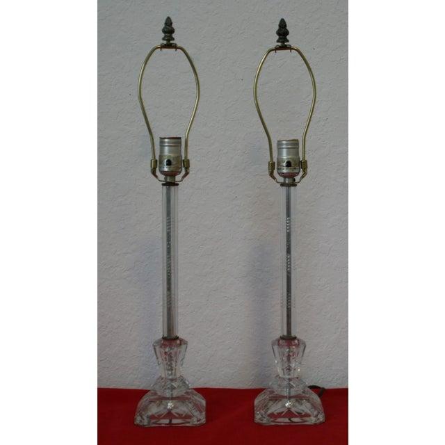 Art Deco Vintage Cut Glass Candlestick Boudoir Lamps - A Pair For Sale - Image 3 of 11