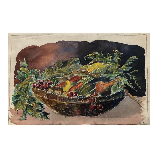 1930 Vegetable Harvest Still Life by Olga Soliva For Sale