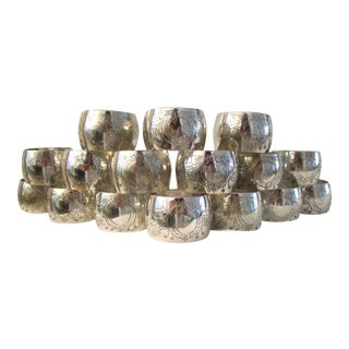 Vintage Engraved Silver Napkin Rings - Set of 16 For Sale