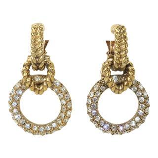 Robert Goossens Gold Tone Door Knocker Rhinestone Earrings, 1980s For Sale