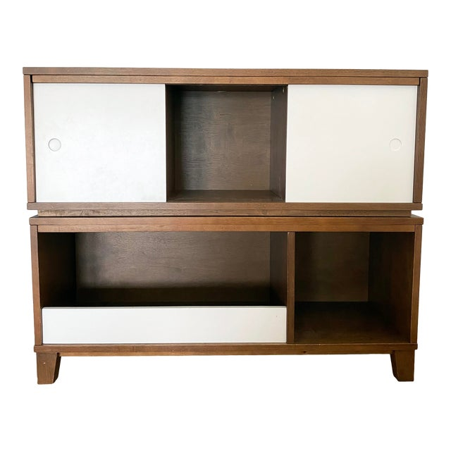 Crate & Barrel Mid-Century Modern Style Walnut Toy Box and Book Shelf For Sale