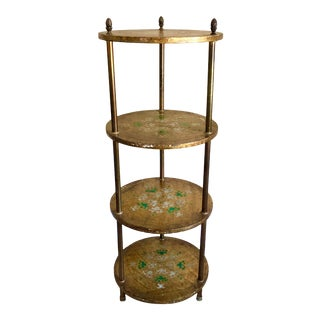 Mid Century Florentine Green Gilt Wood Étagère Shelf For Sale