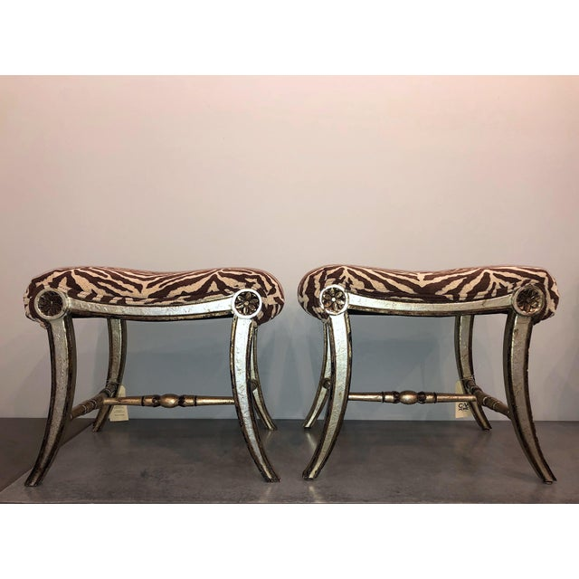 Hollywood Regency Silver Gilt Zebra Benches - a Pair For Sale - Image 13 of 13