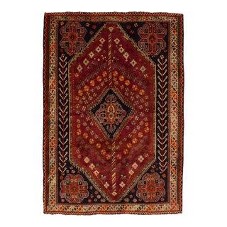 """SHIRAZ QASHQAI Vintage Persian Rug, 5'3"""" x 7'8"""" feet"""