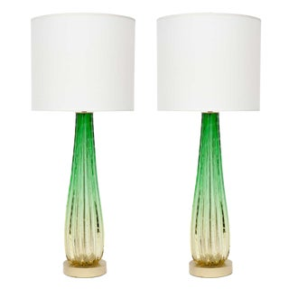 Barovier Citrus and Emerald Green Murano Glass Lamps- a Pair For Sale