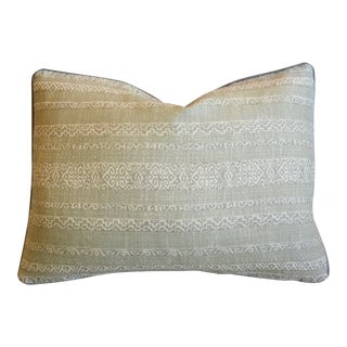 """Green & Cream Designer Kerry Joyce Striped Feather/Down Pillow 22"""" X 16"""" For Sale"""