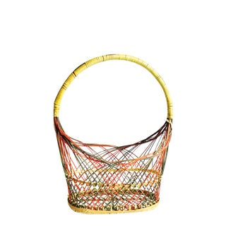 Vintage Colorful Woven Basket With Handle For Sale
