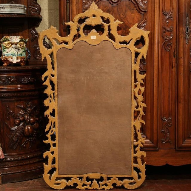 Ornamental & Decorative Materials Mid-Century Italian Carved Wood Silver Leaf Mirror With Antiqued Mirror For Sale - Image 7 of 7