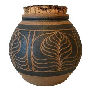 Vintage Sgraffito Pottery Jar Signed 'Brown'