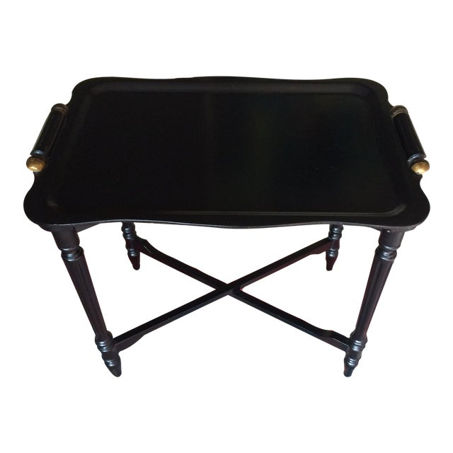 Black Tray Table With Gold Accents - Image 1 of 6
