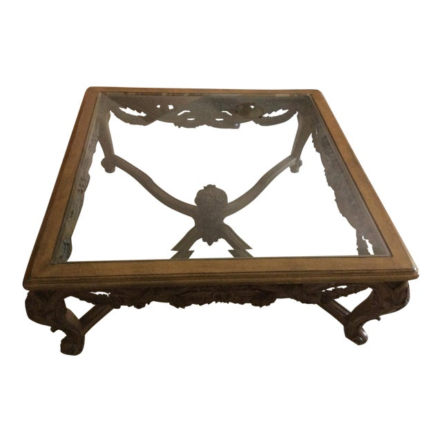 Hand Carved Traditional Glass Top Coffee Table - Image 1 of 7
