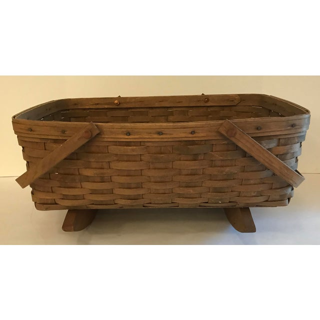 Farmhouse Vintage Longaberger Cradle Basket For Sale - Image 3 of 9