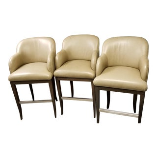 Leather Bar Stools - Set of 3 For Sale