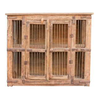 Antique Pinjara Iron Jali Cabinet For Sale
